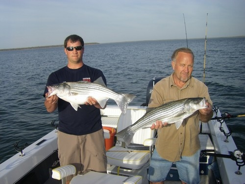 My dad, Bruce, and my cousin, Micah, went out with me and caught these monster stripers on Lake Texoma