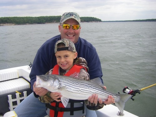 These stripers were caught with Lake Texoma fishing guide Brian Prichard