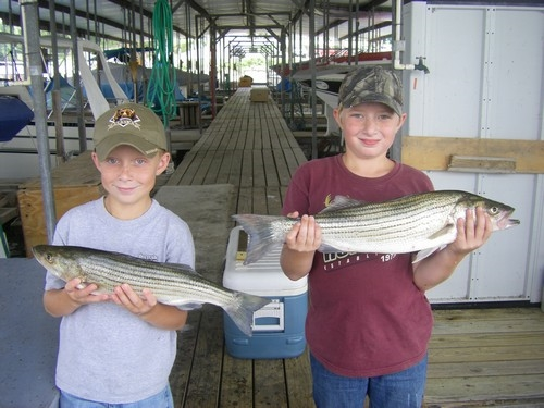 Stripers caught on Lake Texoma with fishing guide, Brian Prichard